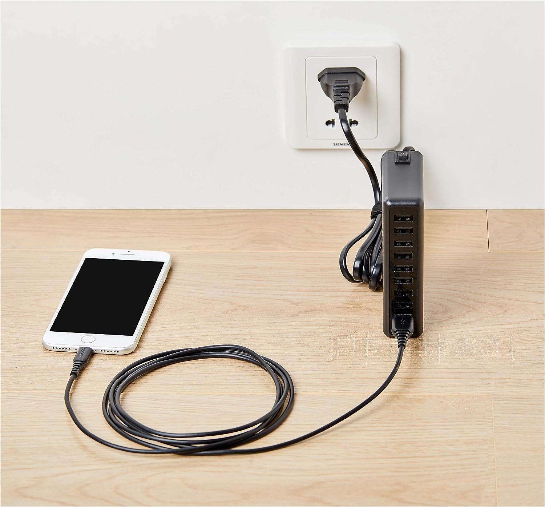 Dunkelgrau 1,8 m USB-Ladeadapter mit 1 Anschluss - Schwarz /& Verbindungskabel doppelt geflochtenes Nylon USB-2.0-Standard USB Typ C auf USB Typ A 2,4 Ampere Basics