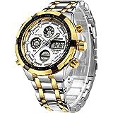 Relojes para Hombre Manera Reloj cronógrafo Pesado del Deporte del Acero Inoxidable Alarma de la Fecha Impermeable Reloj…