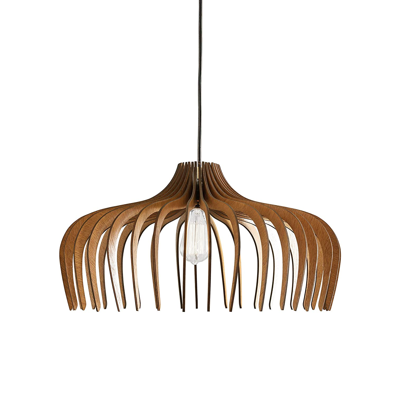 Dezaart Wood Pendant Light, Ceiling Modern Industrial Chandelier 1-Light Brown, Hanging DIY Lasercut Handmade Lampshade Lighting Fixture for Foyer, Entryway, Hallway, Dining Room, Living Room, Bedroom