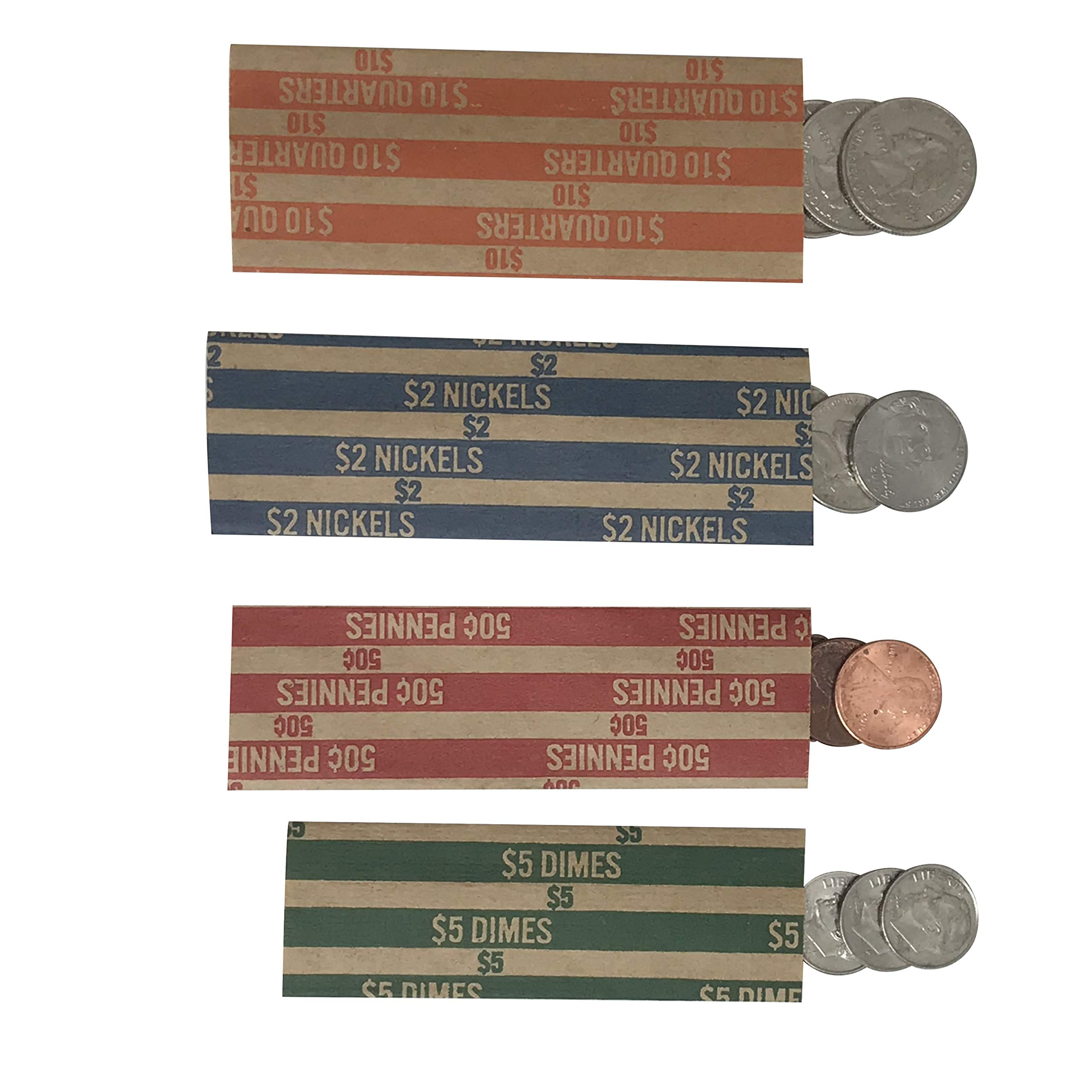 Coin Rolls Assorted 250 Count: 50 Dime Rollers, 50 Penny Wrappers, 50 Nickel Rollers, 100 Quarter Wrappers Flat Striped