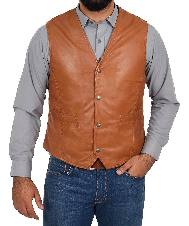 House Of Leather Chaleco de Cuero Real para Hombre Gilet Cl/ásico de Estilo Tradicional Petrelli Bronceado