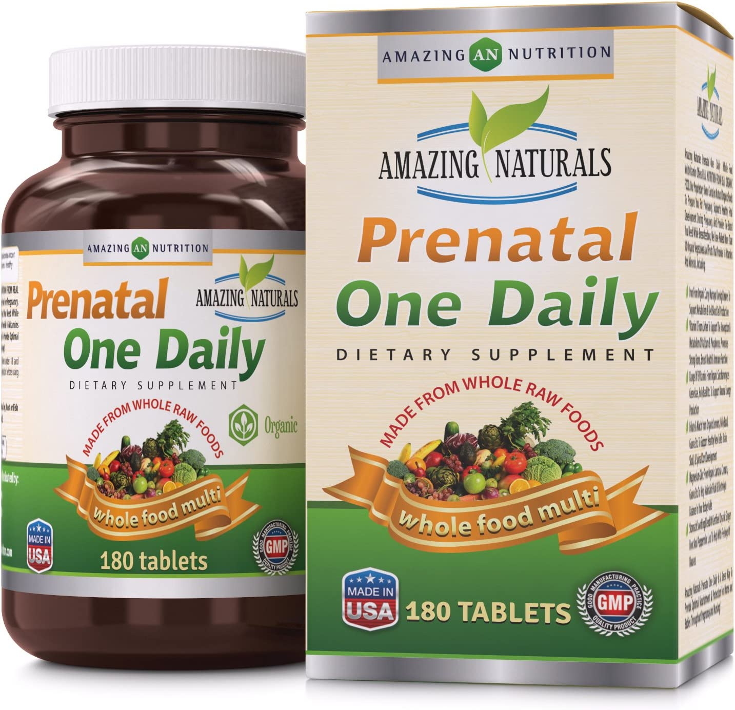 Amazing Naturals PRENATAL ONE DAILY Multivitamin with Floic Acid * Best Raw, Whole Food Multivitamins For New Moms and Moms-to-be * 180 Tablets Per Bottle * Packed With The Goodness Of Over