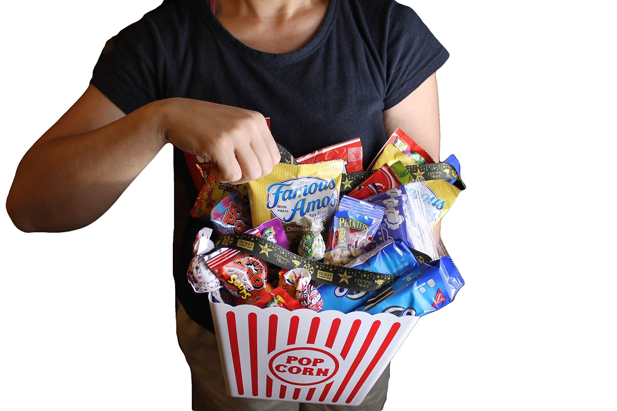 MOVIE NIGHT GIFT BASKET 30 Of Your Favorite Popcorn, Candy Cookies Crackers Perfect Birthday Box Holiday Surprised College Care Package Kids Party Family Movie Night Or A Special Date Night by Tiny Timz (Image #5)