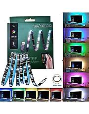 Glückluz Tira led rgb Tiras de Luces LED RGB con Mando a Distancia USB Multicolor Retroiluminación Tiras de LED Kit Completo para Decoración del Partido Fiesta Cocina PC Escritorio Monitor Hogar Regalo de Navidad(2M 5050 RGB 60 LEDs IR Remoto) (24 Botón)