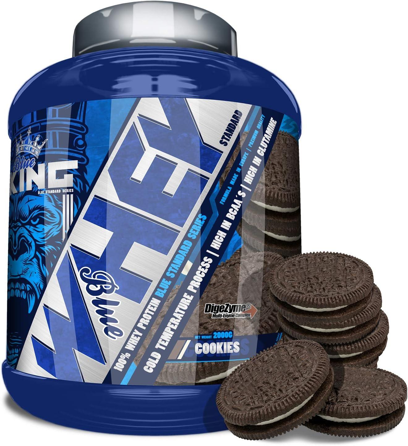 BLUEKING SUPPLEMENT, Whey Protein, Proteína en polvo, Suplementos deportivos, American Blue - 2kg (COOKIES)