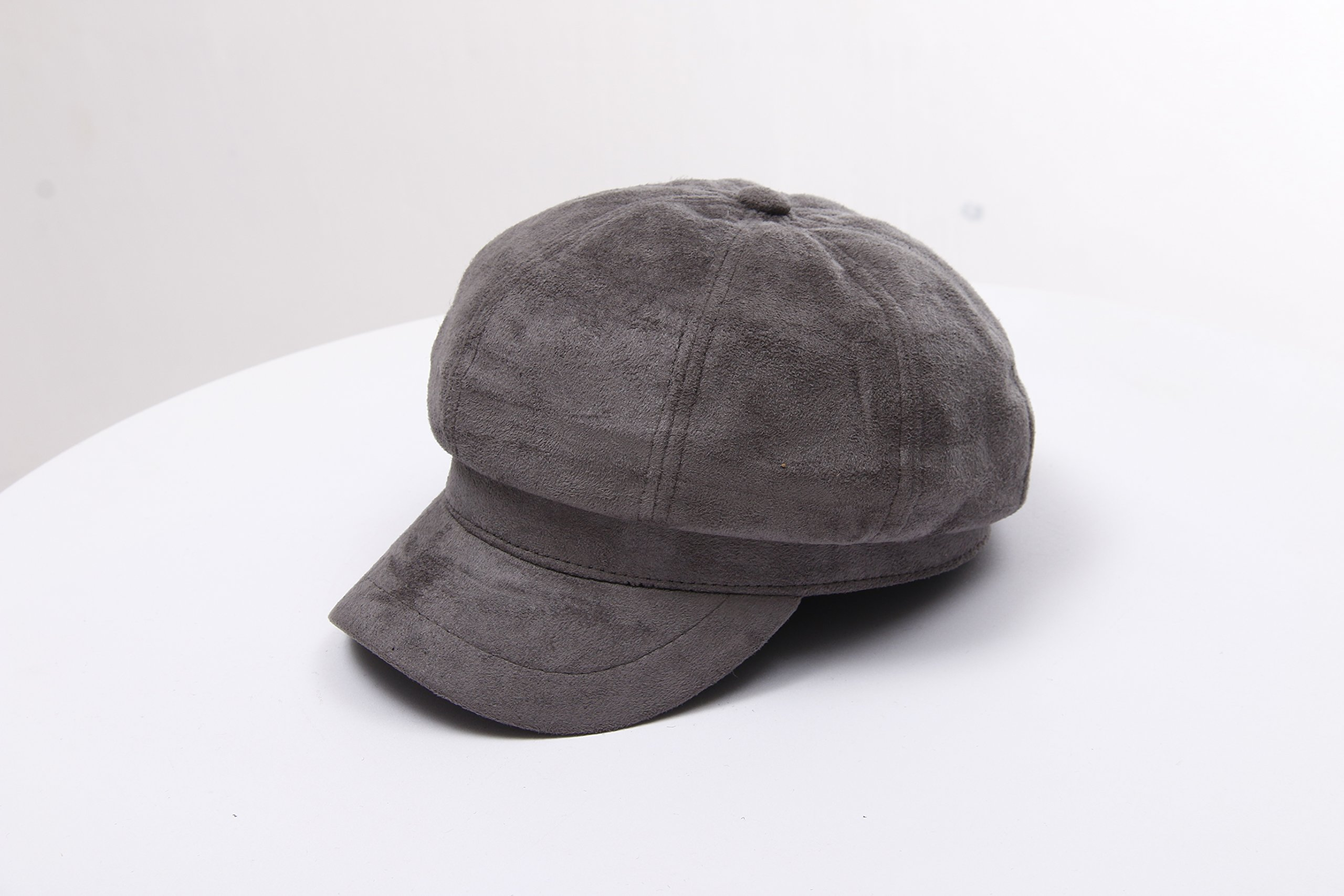Santiagoana Women Corduroy,Cotton Newsboy Cap Cabbie Painter Beret Cloche Cotton Visor Hats (Grey) by Santiagoana (Image #3)
