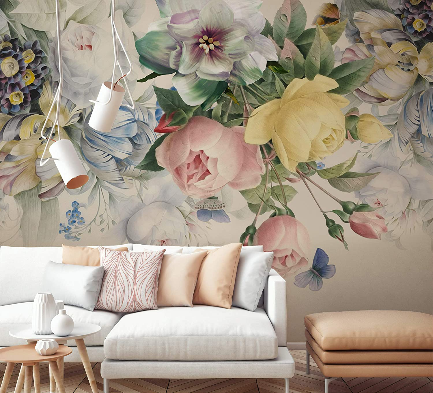 Amazon Com Murwall Floral Wallpaper Colorful Floral Wall Mural