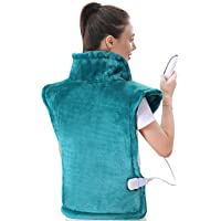 """MaxKare Large Heating Pad for Back and Shoulder Pain, 24""""x33"""" Heat Wrap with Fast-Heating and 5 Heat Settings for Sport Sorness and Cramps Relief, Auto Shut Off Available-Lake Green"""
