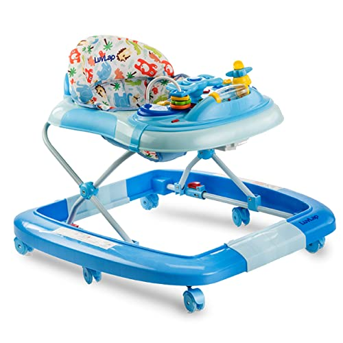 9. LuvLap Grand Baby Walker & Rocker, Height Adjustable with Light & Musical Toys, 6m+ (Blue)