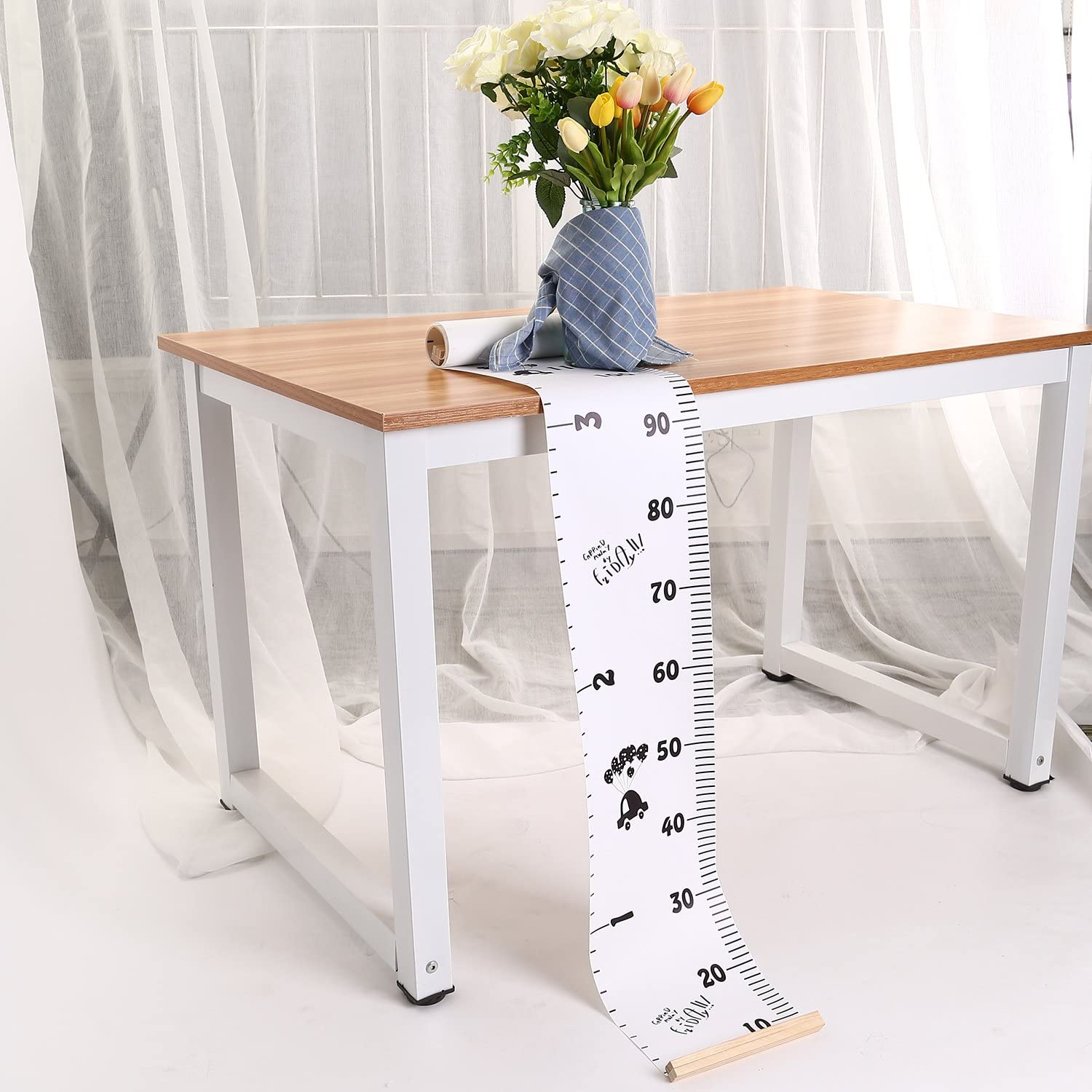 TKSTAR Removable Growth Chart Handing Ruler Wall Decor for Kids Wood Frame Height Measurement Rulers JU-BR04 A