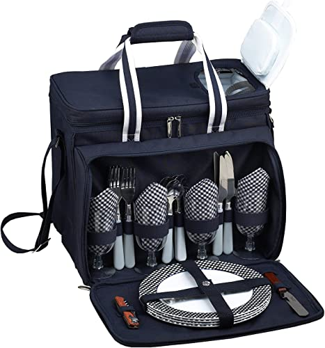 Picnic at Ascot Original Insulated picnic cooler with Service for 4 -Designed Assembled in the USA