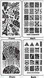 Ejiubas Double-sided Modern Design Geometry Pattern New Nail Art Stamping Plates 2 Pcs