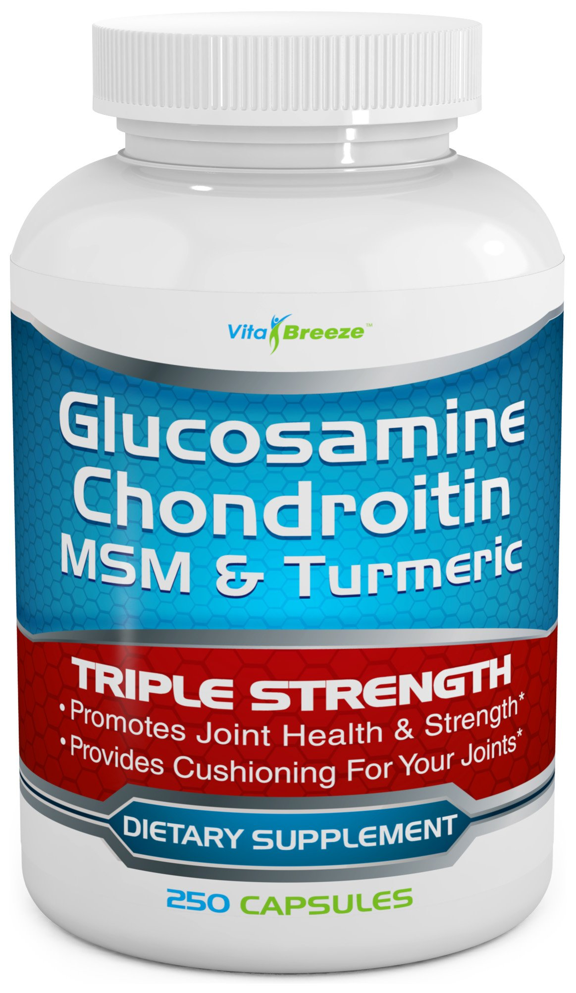Glucosamine Chondroitin, MSM & Turmeric Dietary Supplement - 250 Capsules
