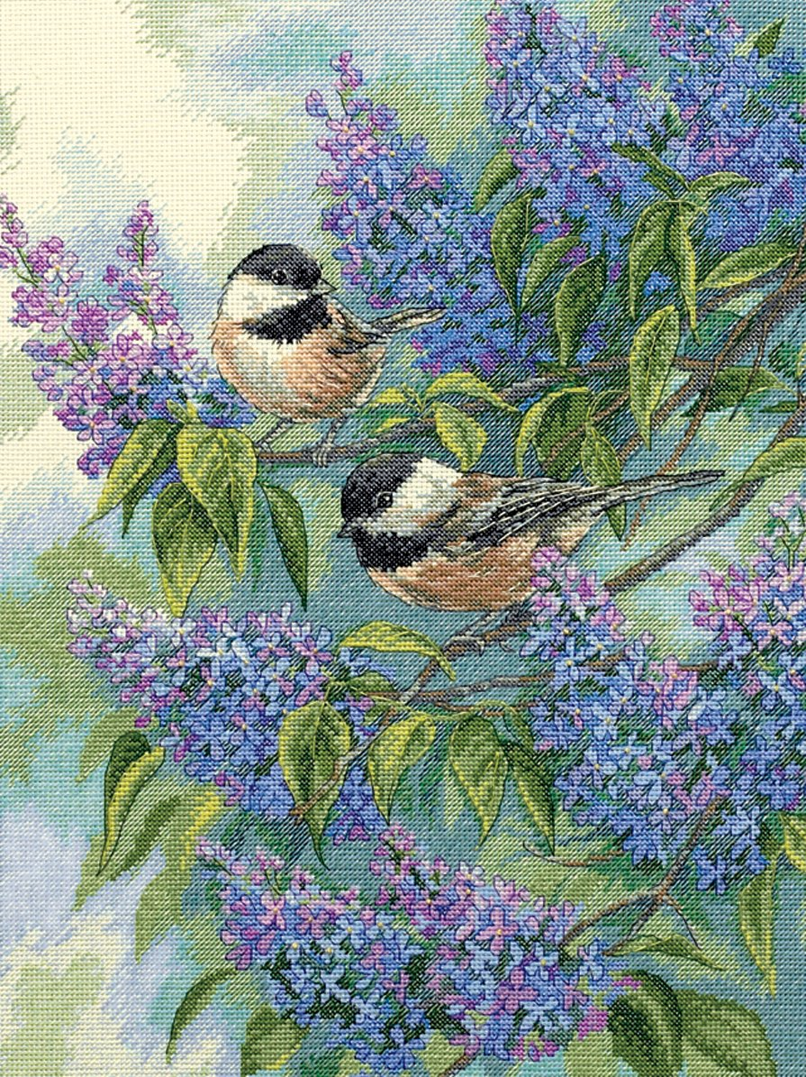 Dimensions Gold Collection Chickadees & Lilacs Counted Cross Stitch Kit-12'X16' 35258