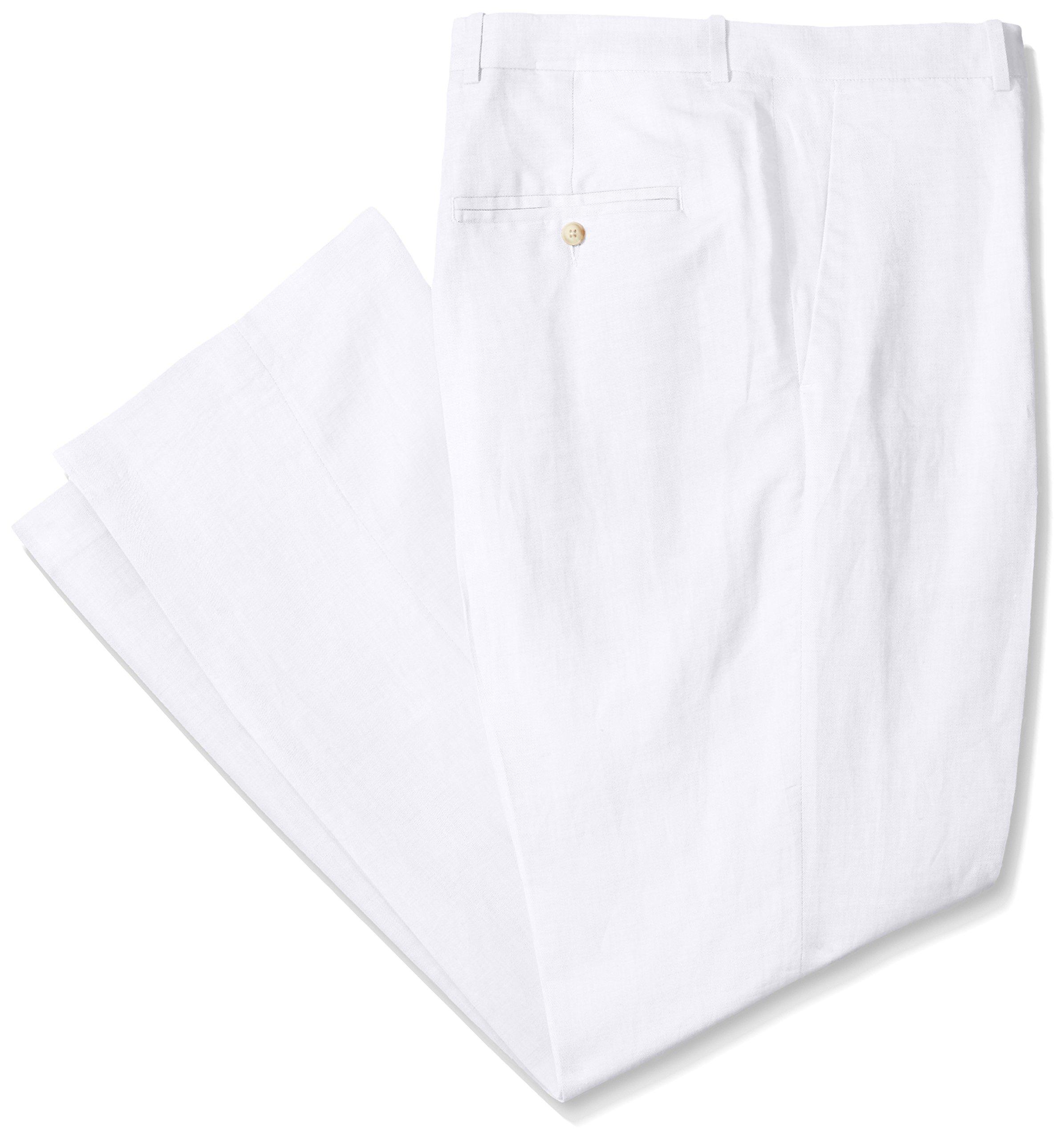 Perry Ellis Men's Big-Tall Linen Suit Pant, Bright White, 48W X 30L