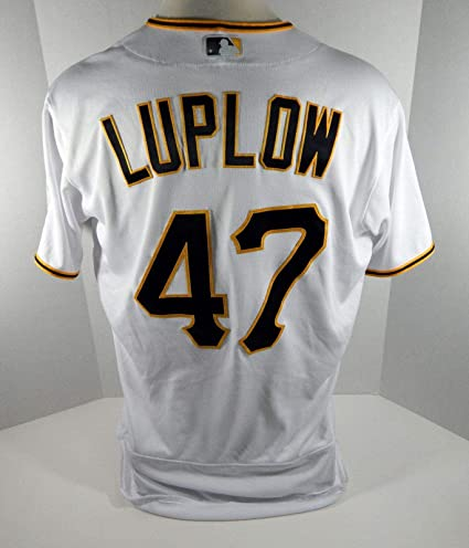 b12c1c79e82 2018 Pittsburgh Pirates Jordan Luplow #47 Game Used White Jersey ...