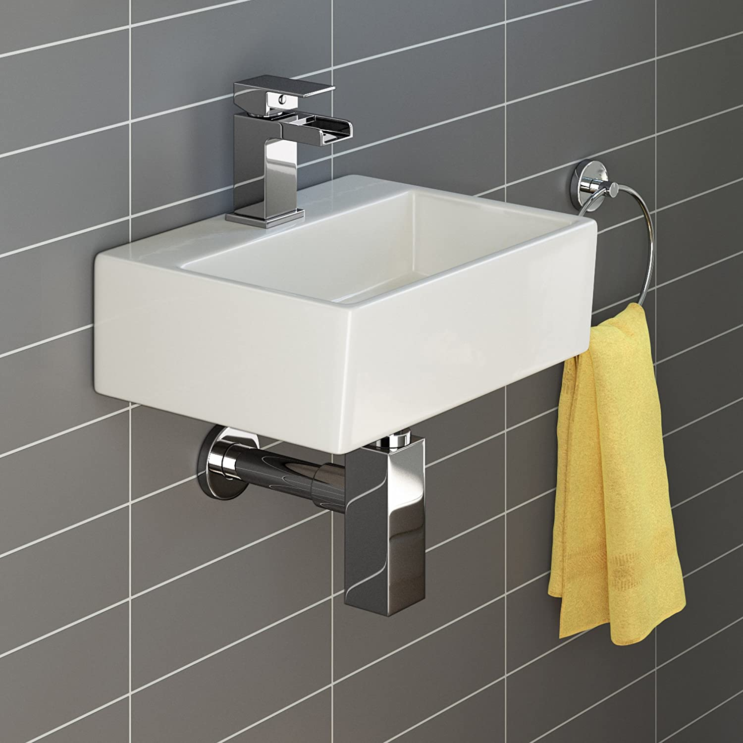 sink basins bathroom compact small square wall hung cloakroom ceramic mini 14415