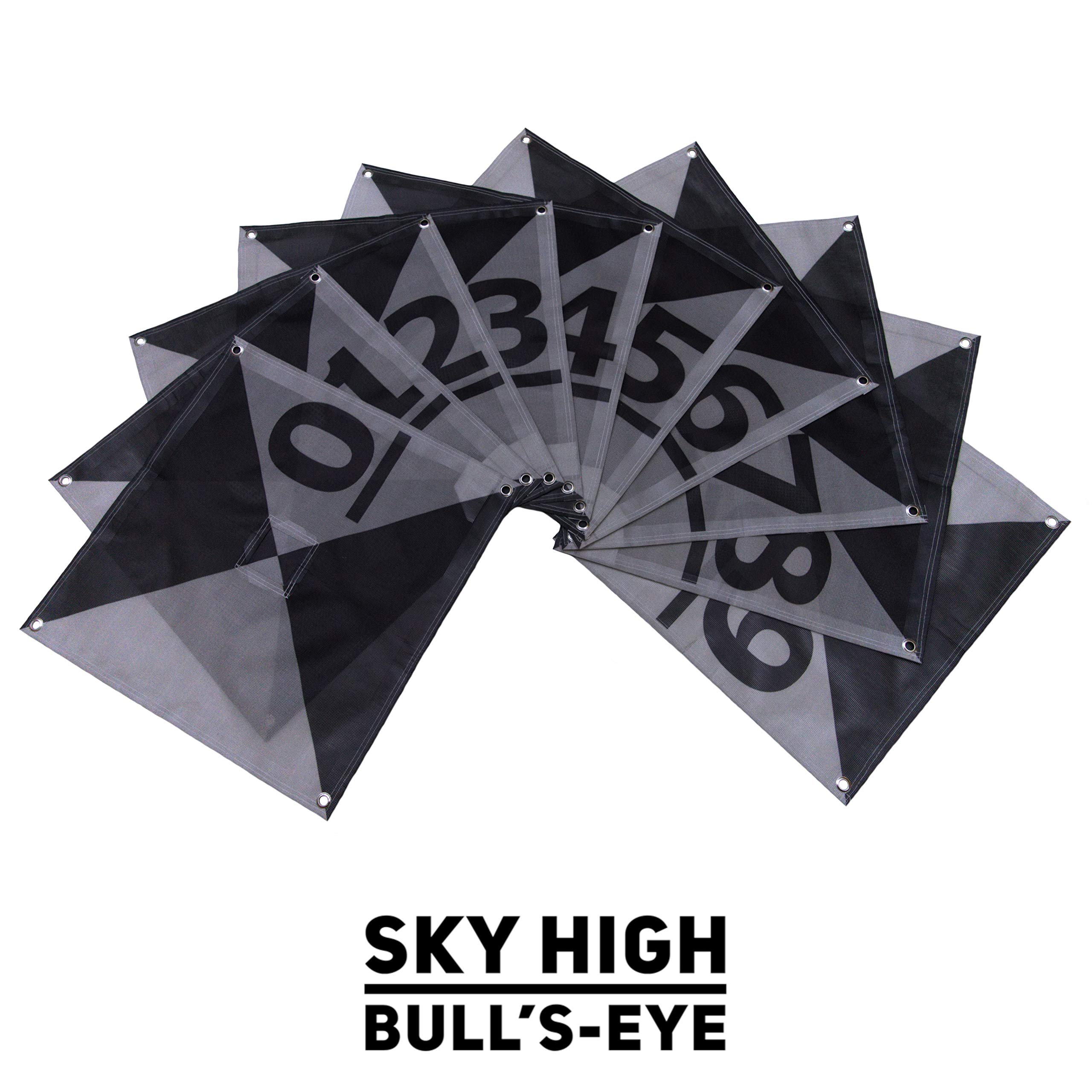 UAV Ground Control Points (GCPs)/Aerial Targets for Aerial Mapping & Surveying (10 Pack) with Center Passthrough Numbered 0-9 | Harlequin Iron Cross Edition (Black & Grey)