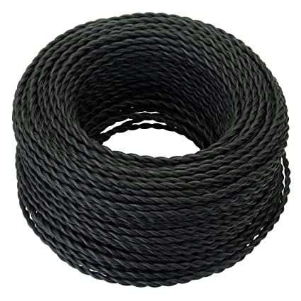 Swell 25 Feet Black Twisted Cloth Covered Wire 3 Conductor 18 Gauge Wiring Digital Resources Remcakbiperorg