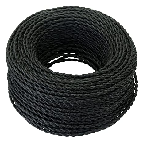 25 feet black twisted cloth covered wire, 3-conductor 18-gauge antique  industrial fabric electrical cord cable, vintage style lamp cord strands,
