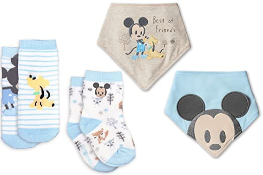 Amazon Com Mickey Mouse Bib Sock Set For Baby 2 Pack Disney Blue