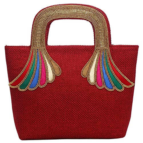 b7c8e2950c BagaHolics Girl s Ethnic Jute Clutches Handbag with Embroidery Purse  (Maroon)