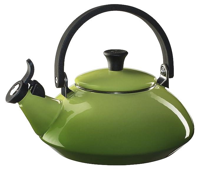 Le Creuset Enameled Steel Zen Tea Kettle, 1-2/3-Quart, Palm Dinnerware & Serving Pieces at amazon