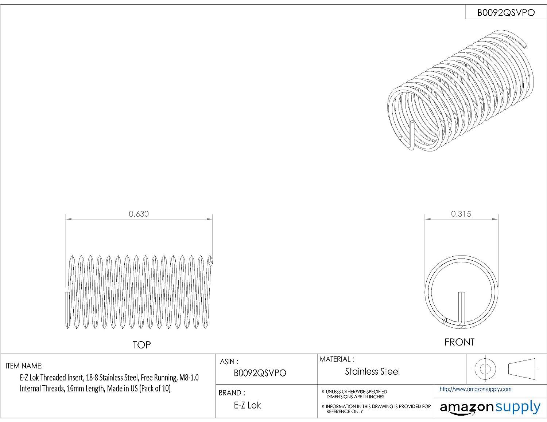 E-Z Lok Threaded Insert 50820 16mm Length 18-8 Stainless Steel Pack of 10 M8-1.0 Internal Threads Helical
