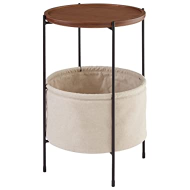 Rivet Meeks Round Storage Basket Side End Table Nightstand, Walnut and Cream Fabric