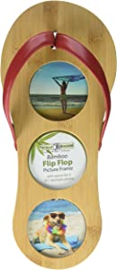 Totally Bamboo Flip Flop Picture Frame - Beach Life Decor , Vacation Collage or a Unique Gift. Made from 100% Natural Bamboo Wood (15.5 x 6.75-Inches)