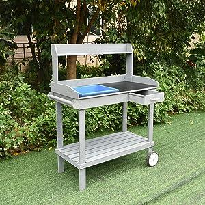 Garden Potting Bench Outdoor on Wheel - Workstation Table with Sink Wood Patio Furniture Natural Gardening Workbench Drawer Storage Space Open Shelf