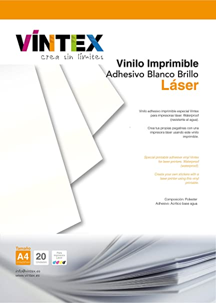 Vinilo Adhesivo Imprimible Blanco Brillo Láser (20): Amazon ...