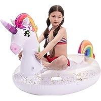 JOYIN Inflatable Unicorn Pool Float with Glitters, Fun Beach Floaties, Ride On Unicorn Raft, Pool Toys, Summer Party…