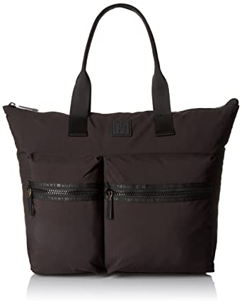 abf126c51 Amazon.com: Tommy Hilfiger Sport Nylon Large Tote Top Handle Bag, Black,  One Size: Clothing