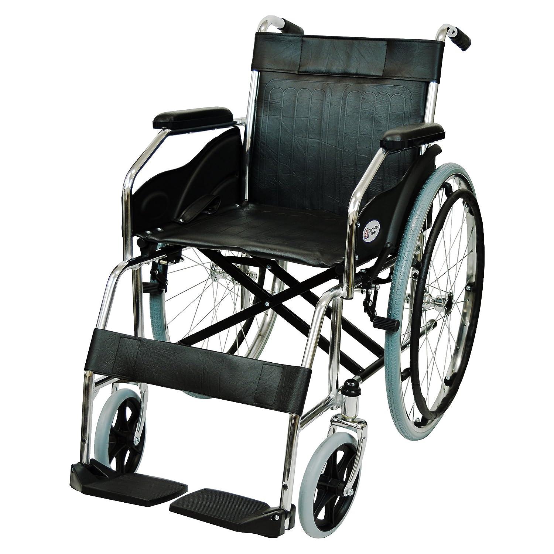 ケアテックジャパン 自走式 スチール製 折りたたみ 車椅子 ウィッシュ CS-10 ブラック B01EJ5LZK0 ブラック ブラック
