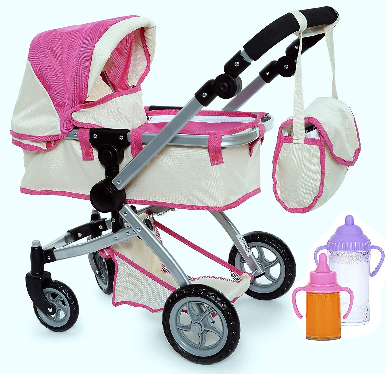 fash n kolor Exquisite Buggy | Foldable Pram for Baby Doll with Polka Dots Design with Swiveling Wheel Adjustable Handle with 2 Free Magic Toy Bottles (Flower)