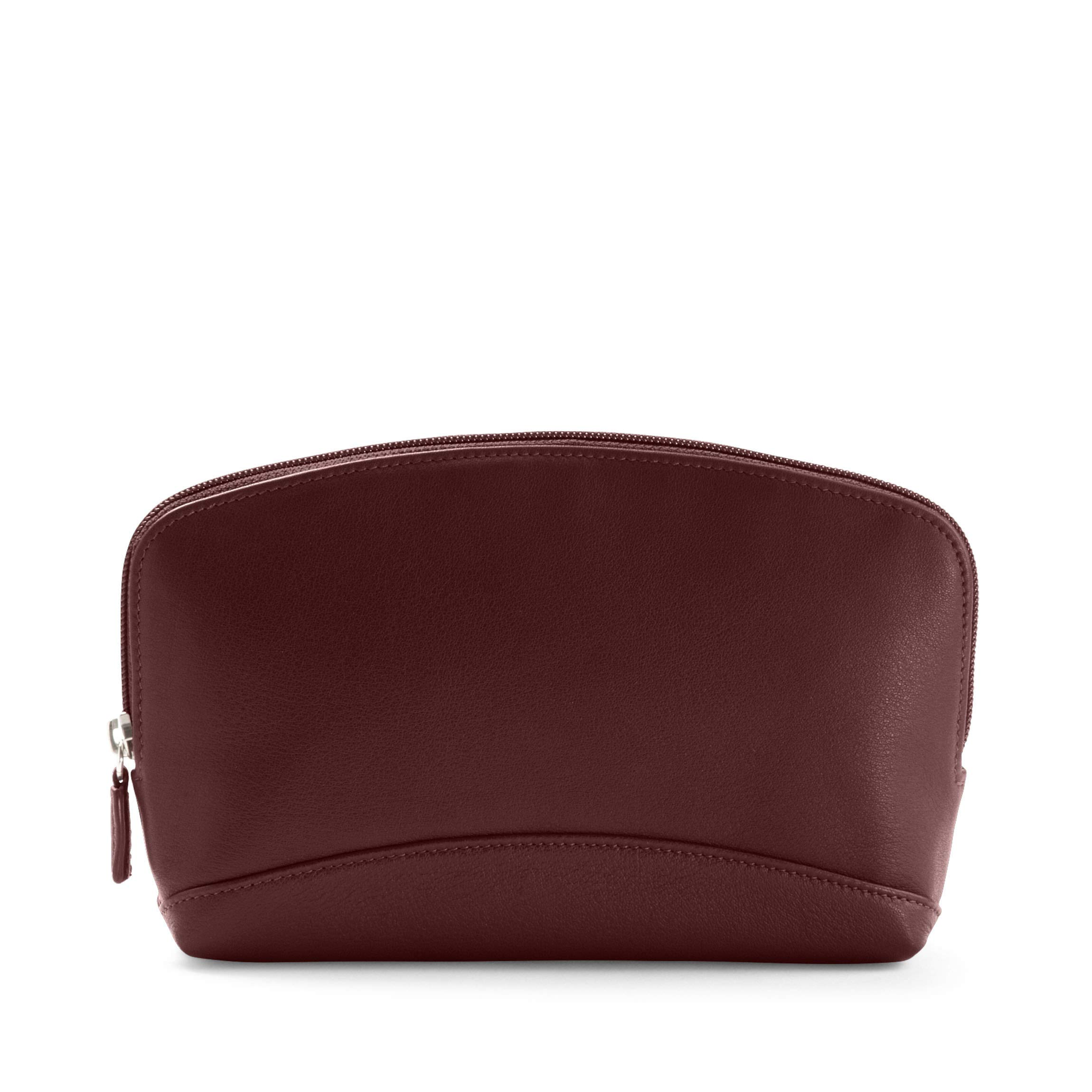 Large Cosmetic Bag - Full Grain Leather Leather - Bordeaux (Red)
