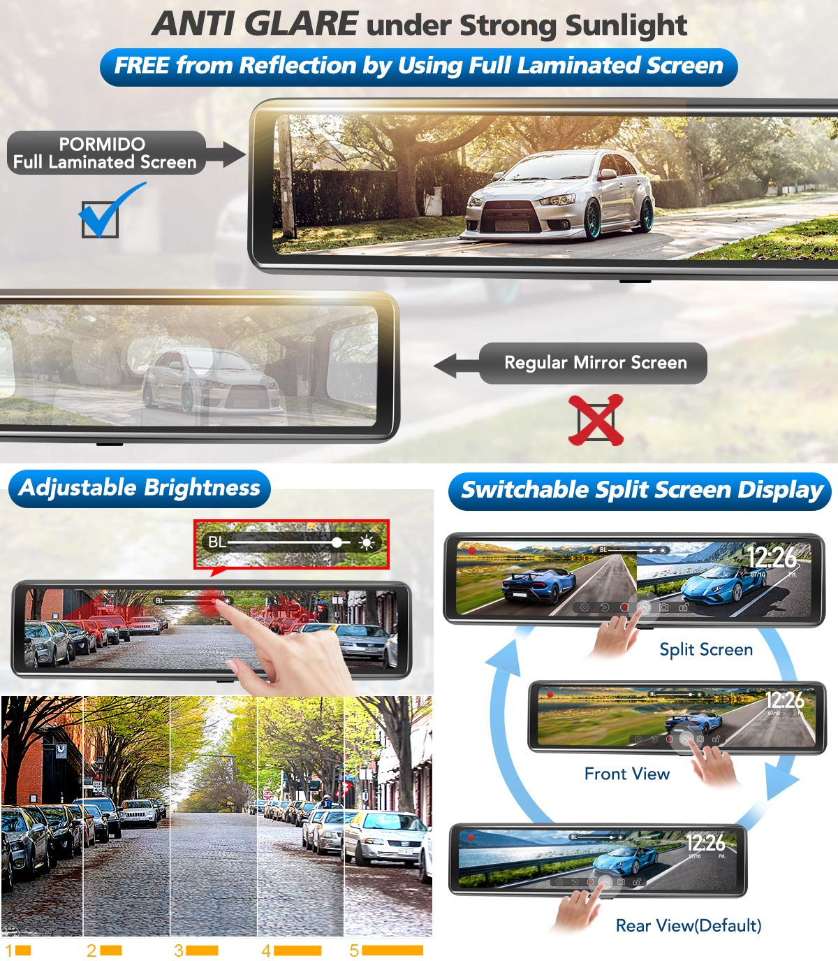 PORMIDO Triple Mirror Dash Cam 12 with Detached Front and in-Car Camera,Waterproof Backup Rear View Dashcam Anti Glare 1920P IPS Touch Screen,Starvis Night Vision Sony Sensor,GPS,Parking Assistance