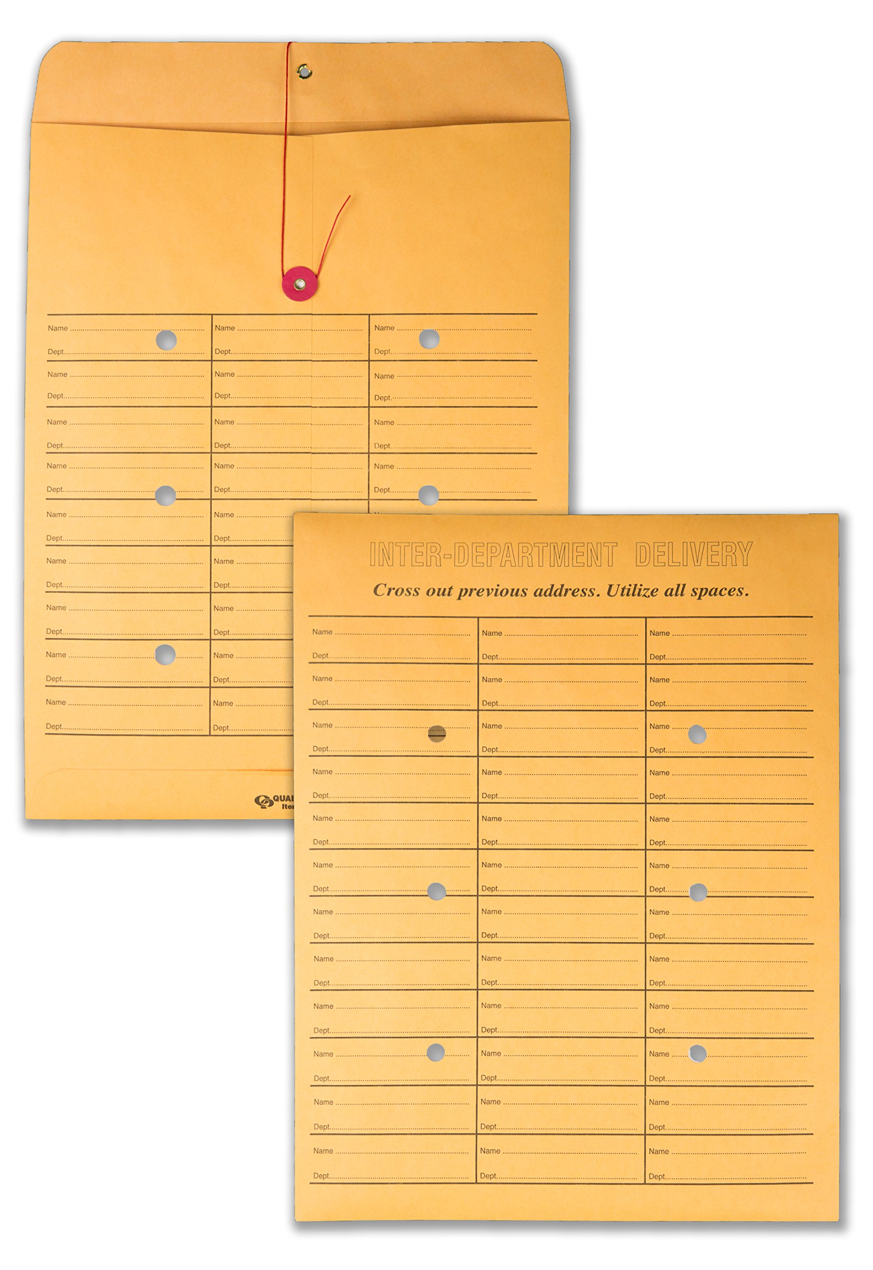 Quality Park, Interoffice Envelopes, String-Tie Box, Brown Kraft, 10x13, 100 per Box (63562) by Quality Park