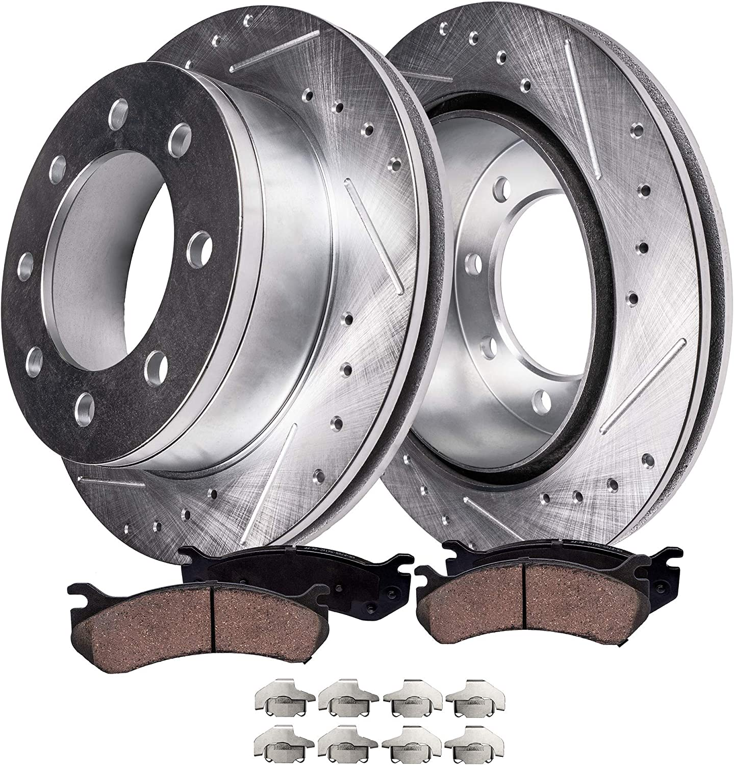 1999-2004 Ford F-350 Super Duty Front Black Slotted Brake Rotors /& Ceramic Pads