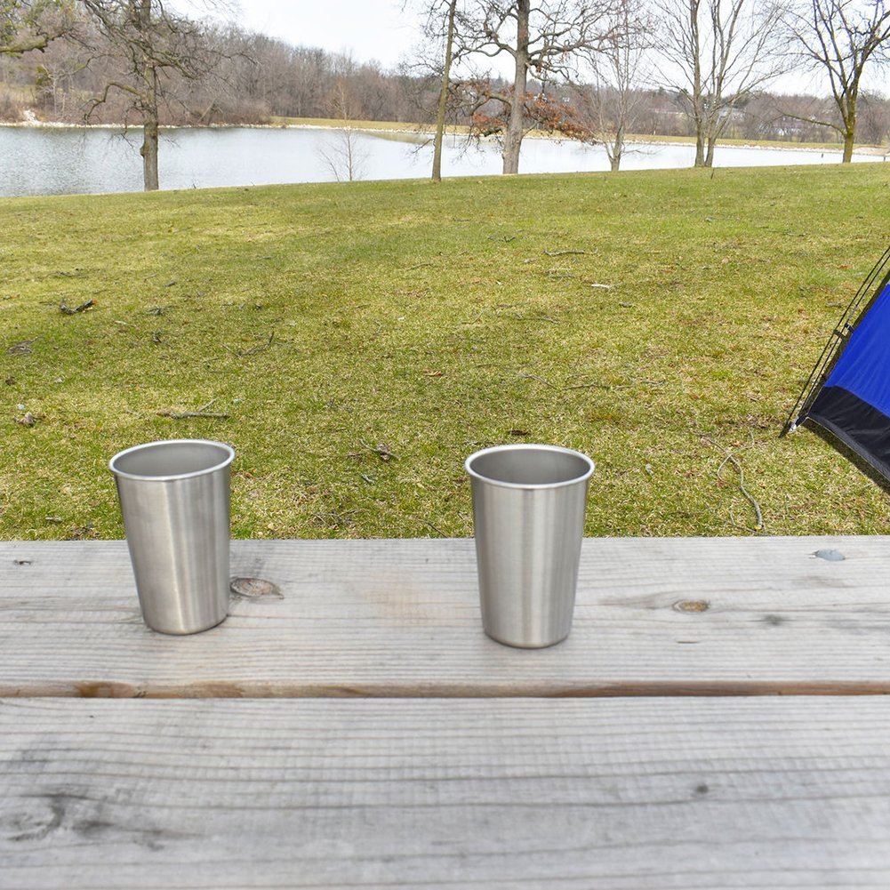 Vinmax 8pcs/set Stainless Steel Cups 14oz Perfect for Outdoor Picnics Travel Camping, Premium Grade Stainless Steel Pint Cups Portable Tableware Drinkware Tea Coffee Wine Beer Cups Durable, Eco-Frien