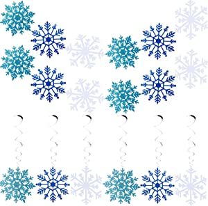 Outus 8 Pieces White Blue Glittery Snowflake Banner and Christmas Snowflake Hanging Swirl for Christmas Holidays Festive Party Supplies Home Decor, Kids Birthday Baby Shower Party Decorations