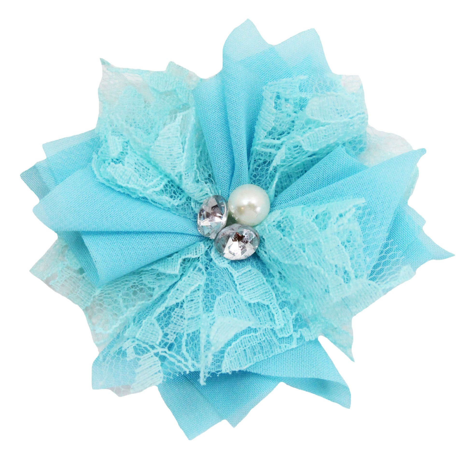 Set of 2 Chiffon & Lace Flower Hair Clip with Pearls & Rhinestones-2.5'' (Turquoise)