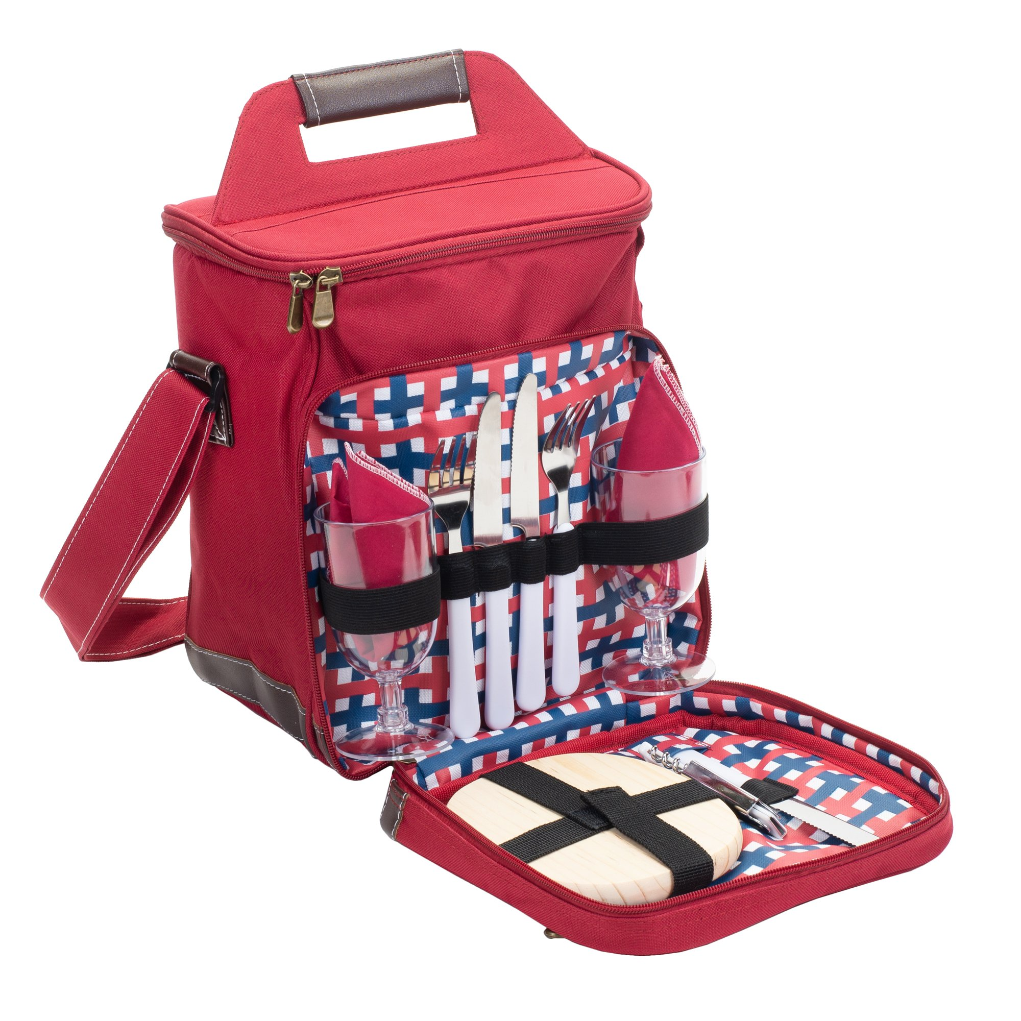 Class Collections 11 Piece Two Person Wine and Cheese Insulated Picnic Cooler Bag Set, Red