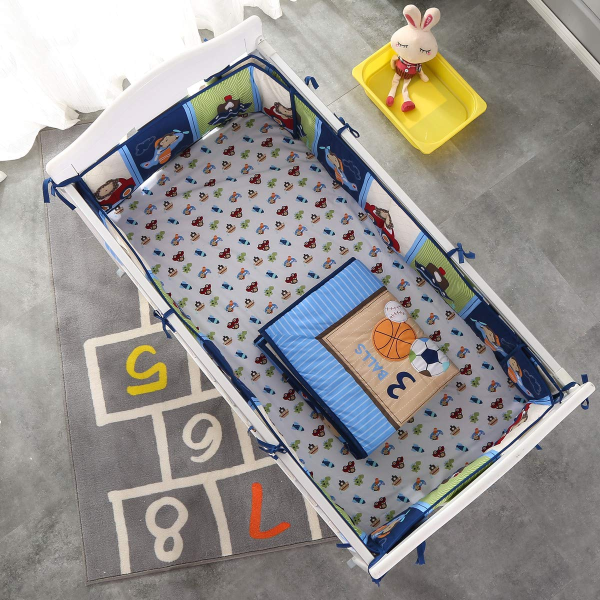 Wowelife Blue Crib Bedding Sets for Boys 7 Piece Travel Car and Airplane for Baby(Little Pilot) by Wowelife (Image #7)