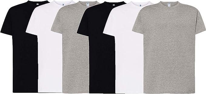 JHK - Pack de 6 Camisetas básicas de Manga Corta, 100 ...