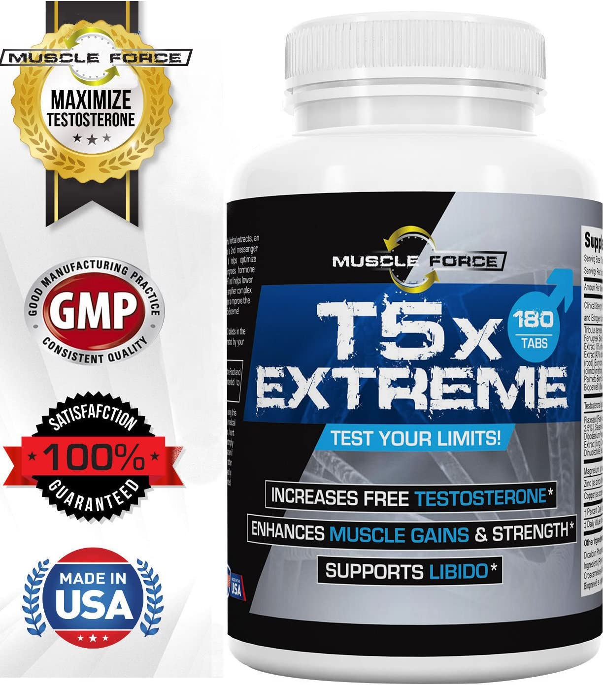 T5X Extreme, Testosterone Booster for Muscle Growth, Virility Enhancement, Multi-Ingredient Formula, Tribulus, Fenugreek and More, One Bottle 180 Tablets 2nd Messenger Set 5X Optimizing Complex