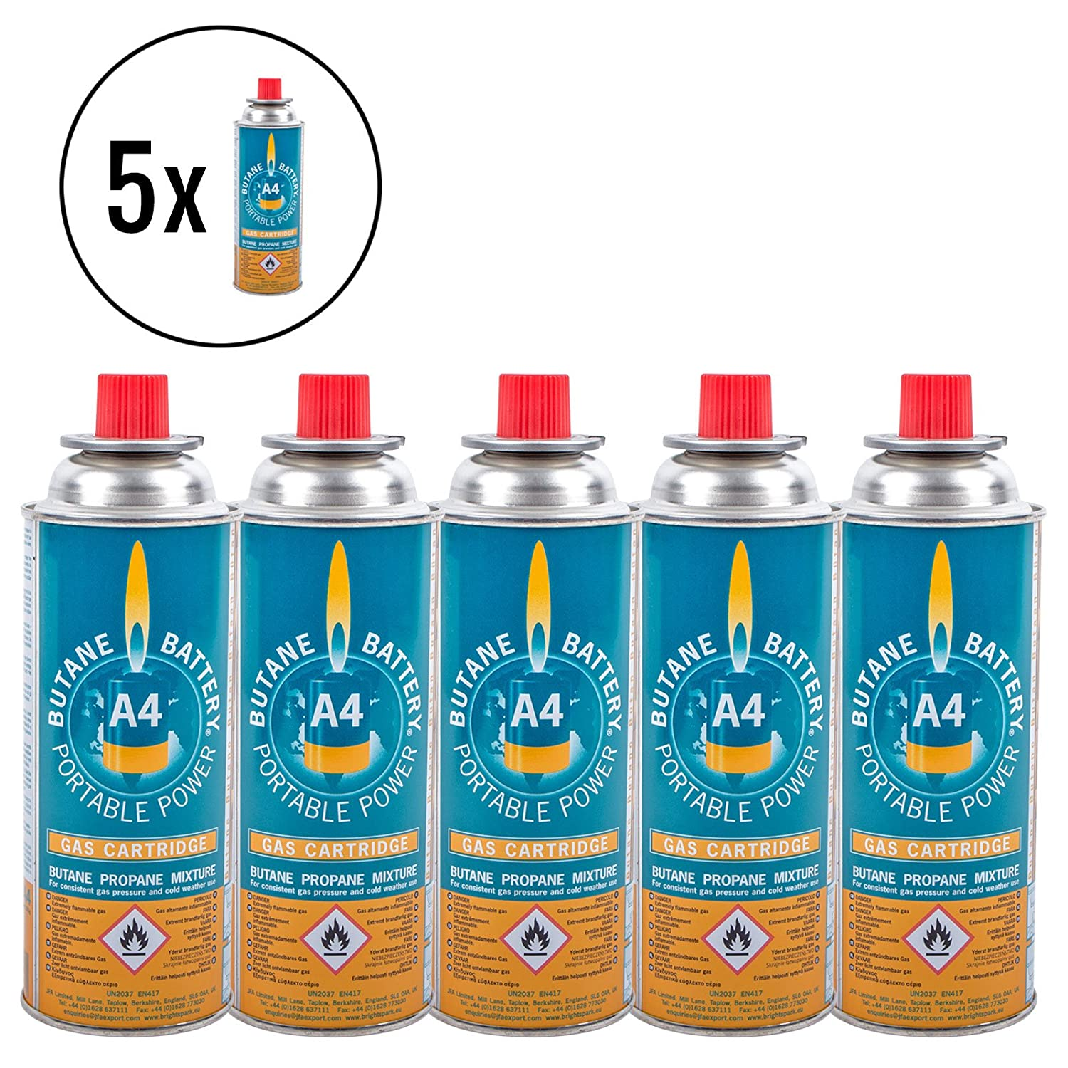 5x gas cartridge Butan-Battery 220 grams for camping carcass cookers and grills. JFA Limited