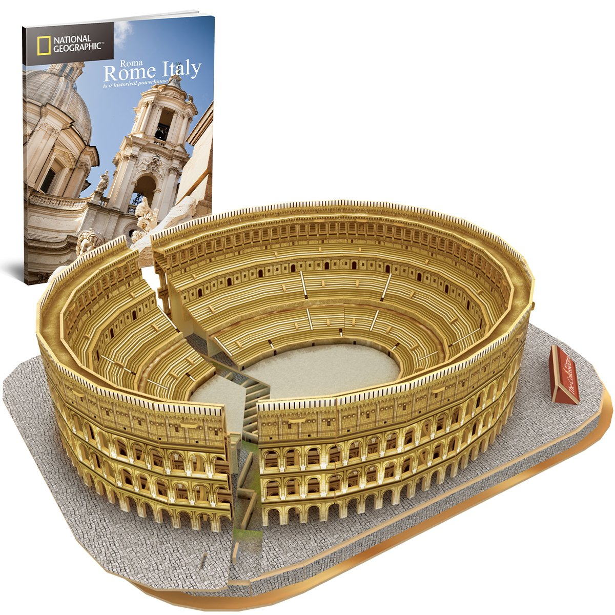 CubicFun National Geographic 3D Puzzles Italy Rome Colosseum Architecture Model Kits Toys for Adults and Children with a Booklet
