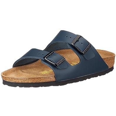 BIRKENSTOCK Classic Arizona Leder, Unisex-Erwachsene Pantoletten, Blau  (Blau), 40